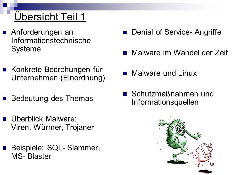 Übersicht Teil 1 Anforderungen an Informationstechnische Systeme Konkrete Bedrohungen für Unternehmen (Einordnung) Bedeutung des Themas Überblick Malw
