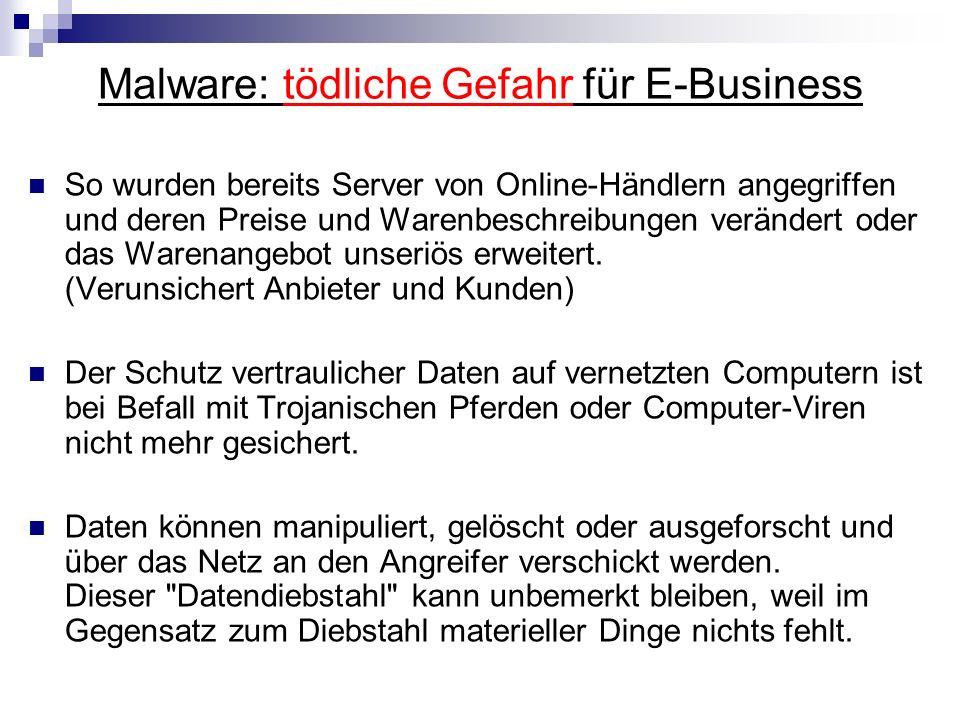 Malware: tödliche Gefahr für E-Business So wurden bereits Server von Online-Händlern angegriffen und deren Preise und Warenbeschreibungen verändert od