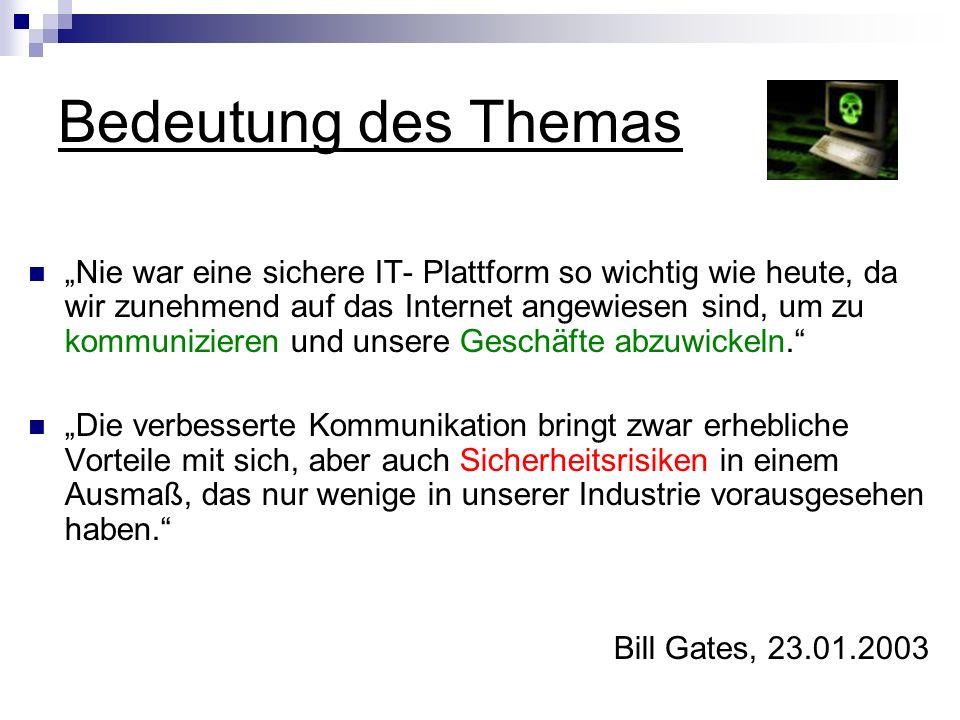 Bedeutung des Themas Nie war eine sichere IT- Plattform so wichtig wie heute, da wir zunehmend auf das Internet angewiesen sind, um zu kommunizieren u
