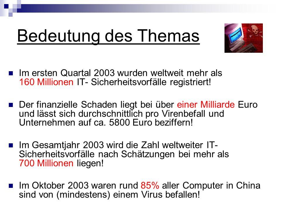 Bedeutung des Themas Im ersten Quartal 2003 wurden weltweit mehr als 160 Millionen IT- Sicherheitsvorfälle registriert! Der finanzielle Schaden liegt