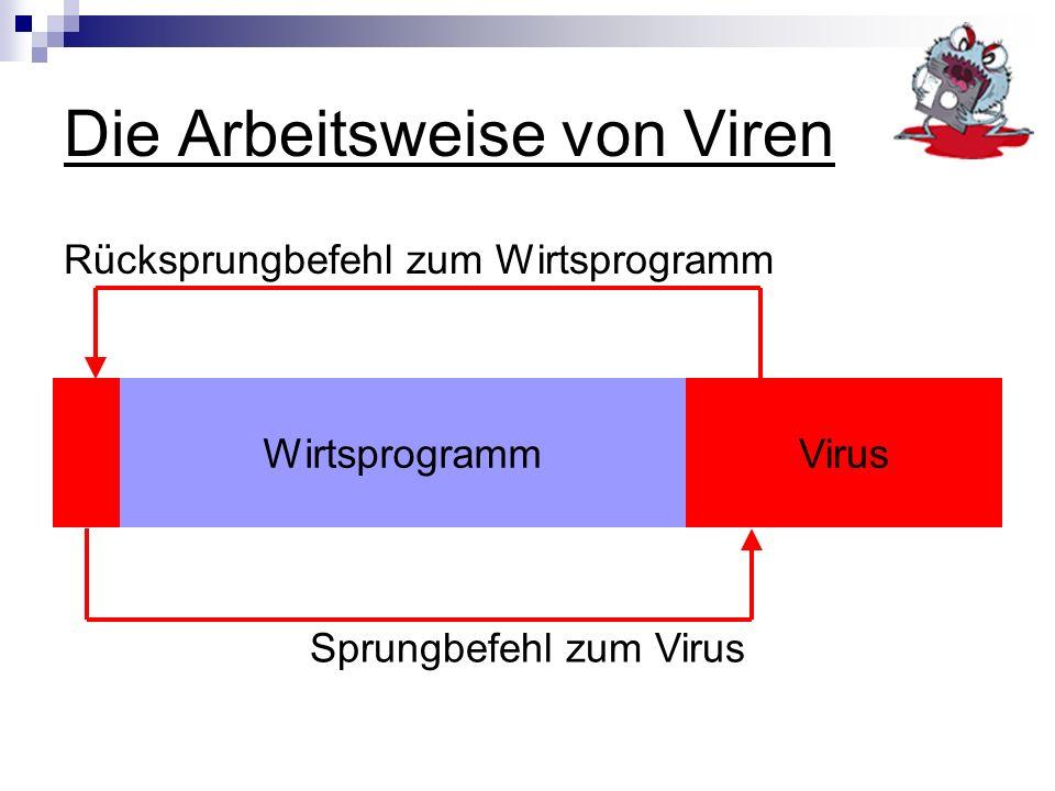 Die Arbeitsweise von Viren Rücksprungbefehl zum Wirtsprogramm WirtsprogrammVirus Sprungbefehl zum Virus