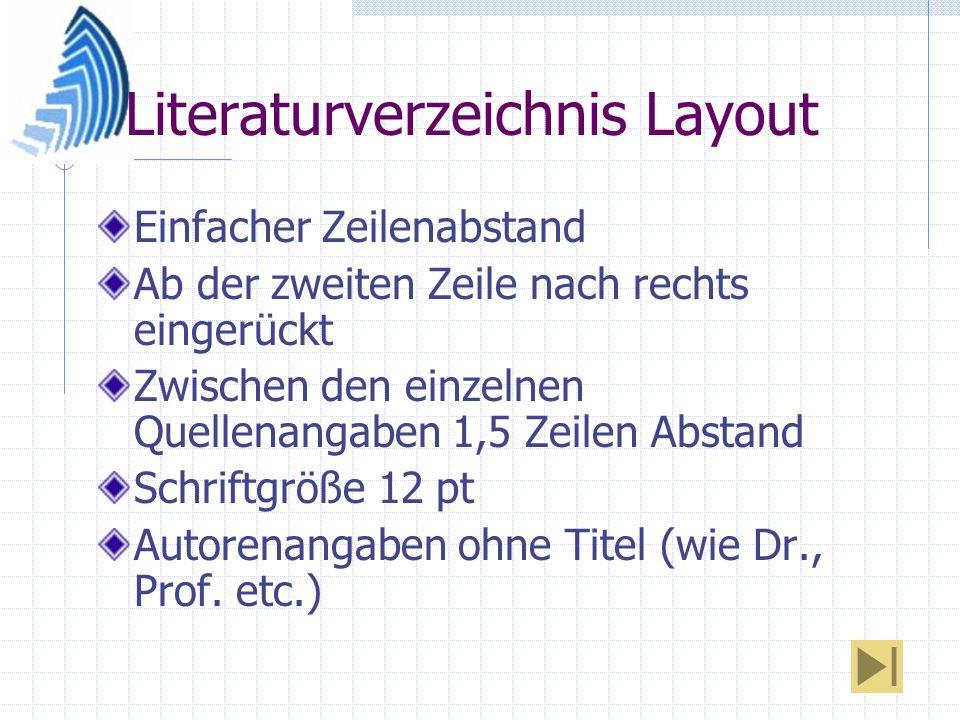 Literaturverzeichnis Layout Einfacher Zeilenabstand Ab der zweiten Zeile nach rechts eingerückt Zwischen den einzelnen Quellenangaben 1,5 Zeilen Absta