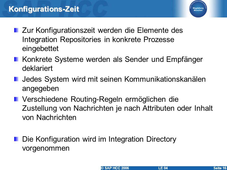 © SAP HCC 2006 LE 04Seite 16 Konfigurations-Zeit Zur Konfigurationszeit werden die Elemente des Integration Repositories in konkrete Prozesse eingebet