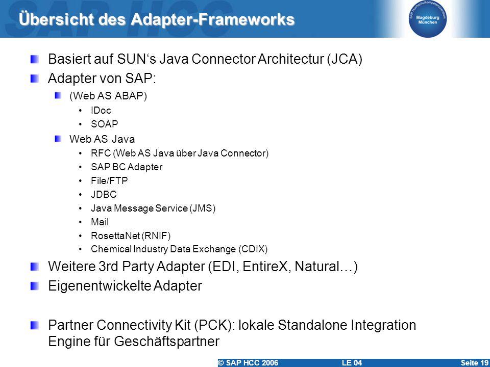 © SAP HCC 2006 LE 04Seite 19 Übersicht des Adapter-Frameworks Basiert auf SUNs Java Connector Architectur (JCA) Adapter von SAP: (Web AS ABAP) IDoc SO