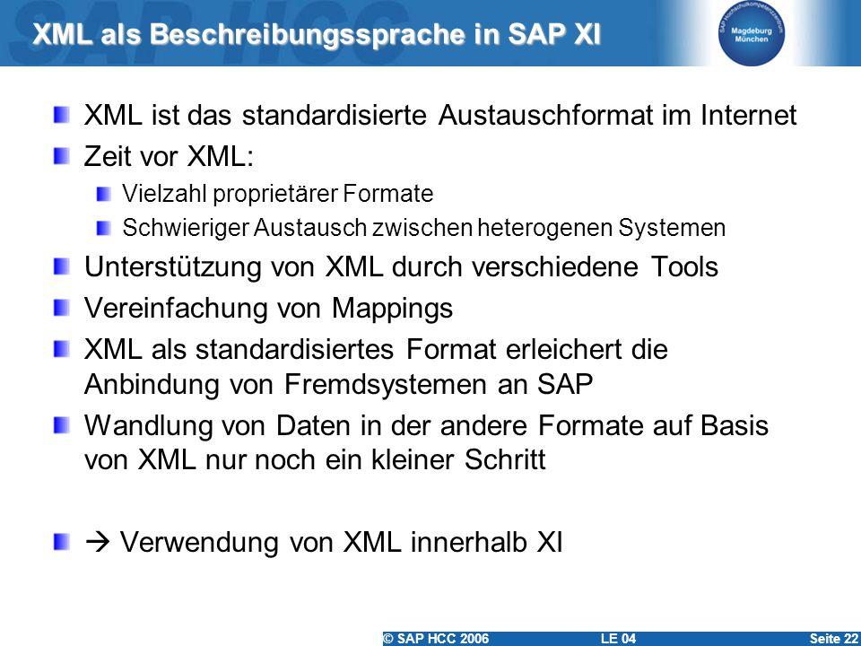 © SAP HCC 2006 LE 04Seite 22 XML als Beschreibungssprache in SAP XI XML ist das standardisierte Austauschformat im Internet Zeit vor XML: Vielzahl pro