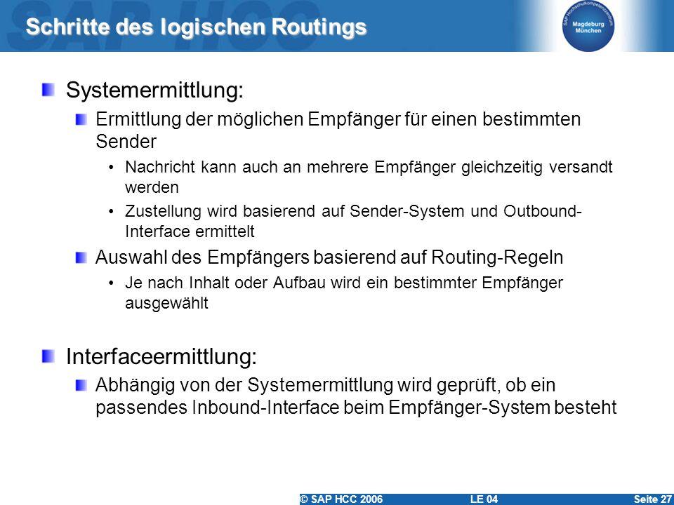 © SAP HCC 2006 LE 04Seite 27 Schritte des logischen Routings Systemermittlung: Ermittlung der möglichen Empfänger für einen bestimmten Sender Nachrich