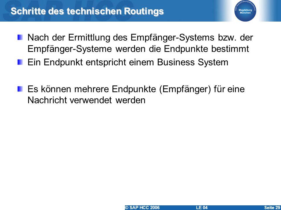 © SAP HCC 2006 LE 04Seite 29 Schritte des technischen Routings Nach der Ermittlung des Empfänger-Systems bzw. der Empfänger-Systeme werden die Endpunk