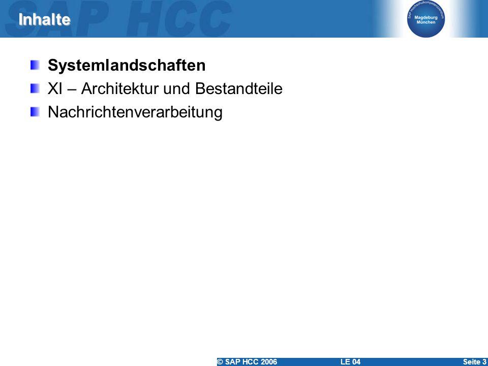 © SAP HCC 2006 LE 04Seite 3 Inhalte Systemlandschaften XI – Architektur und Bestandteile Nachrichtenverarbeitung