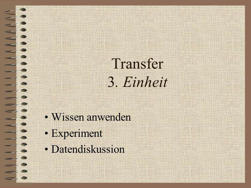 Transfer 3. Einheit Wissen anwenden Experiment Datendiskussion