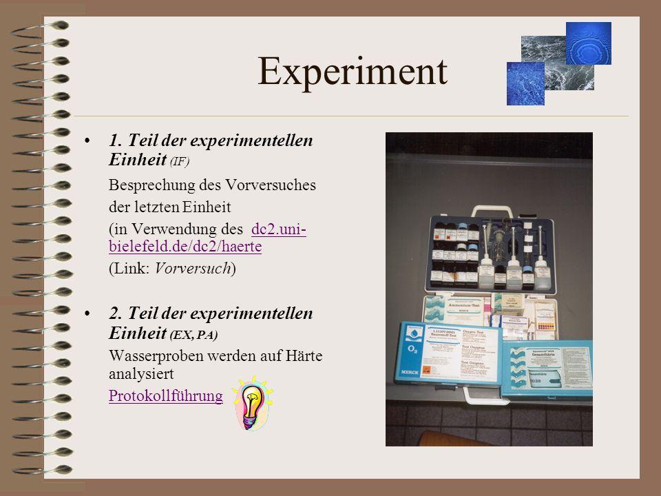 Experiment 1. Teil der experimentellen Einheit (IF) Besprechung des Vorversuches der letzten Einheit (in Verwendung des dc2.uni- bielefeld.de/dc2/haer
