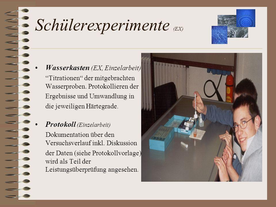Schülerexperimente (EX) Wasserkasten (EX, Einzelarbeit) Titrationen der mitgebrachten Wasserproben. Protokollieren der Ergebnisse und Umwandlung in di