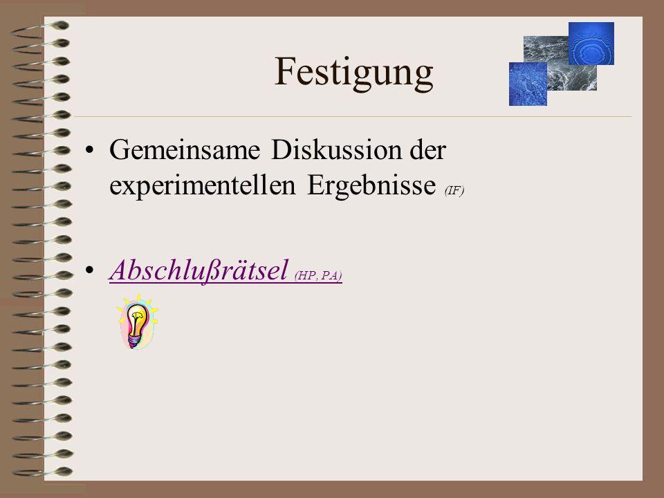 Festigung Gemeinsame Diskussion der experimentellen Ergebnisse (IF) Abschlußrätsel (HP, PA)Abschlußrätsel (HP, PA)
