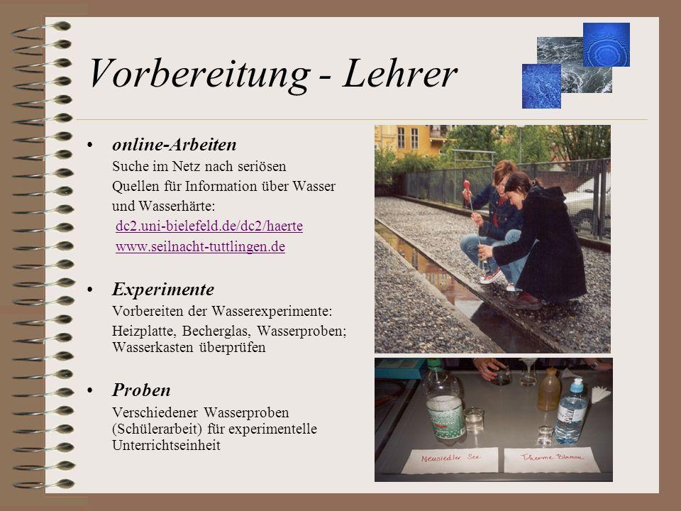 Vorbereitung - Lehrer online-Arbeiten Suche im Netz nach seriösen Quellen für Information über Wasser und Wasserhärte: dc2.uni-bielefeld.de/dc2/haerte