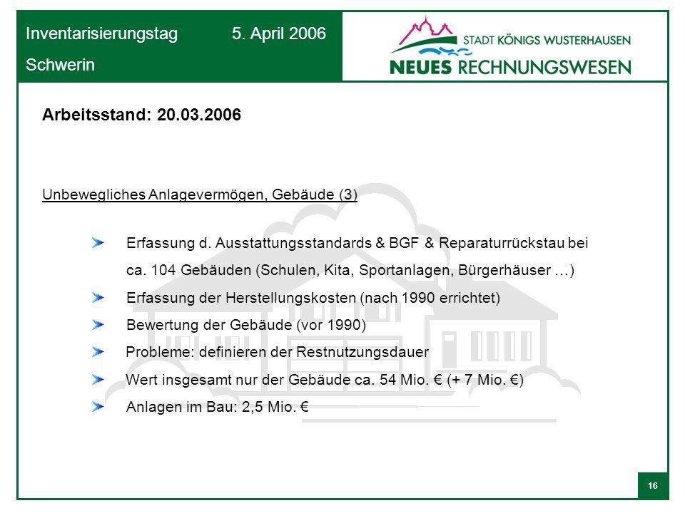 16 Inventarisierungstag 5. April 2006 Schwerin Unbewegliches Anlagevermögen, Gebäude (3) Erfassung d. Ausstattungsstandards & BGF & Reparaturrückstau