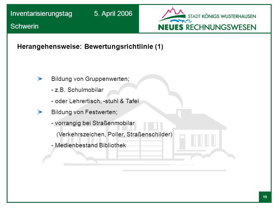 19 Inventarisierungstag 5. April 2006 Schwerin Bildung von Gruppenwerten; - z.B. Schulmobilar - oder Lehrertisch, -stuhl & Tafel Bildung von Festwerte