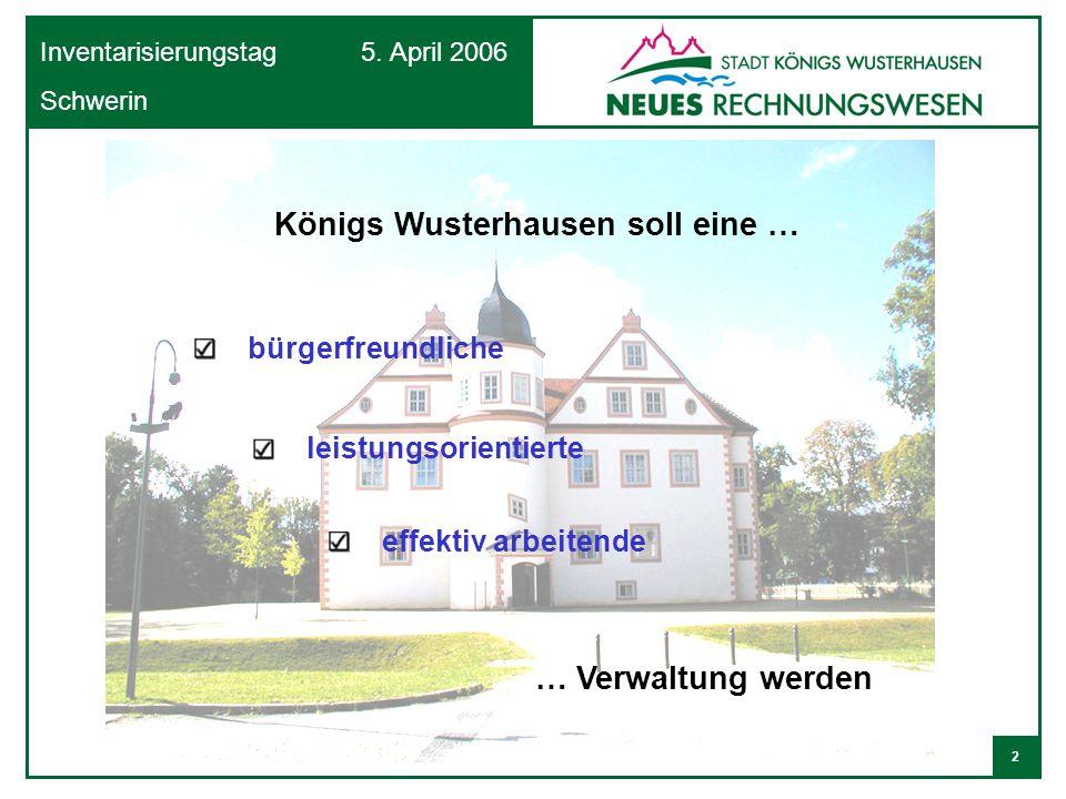 2 Inventarisierungstag 5. April 2006 Schwerin Königs Wusterhausen soll eine … bürgerfreundliche effektiv arbeitende … Verwaltung werden leistungsorien