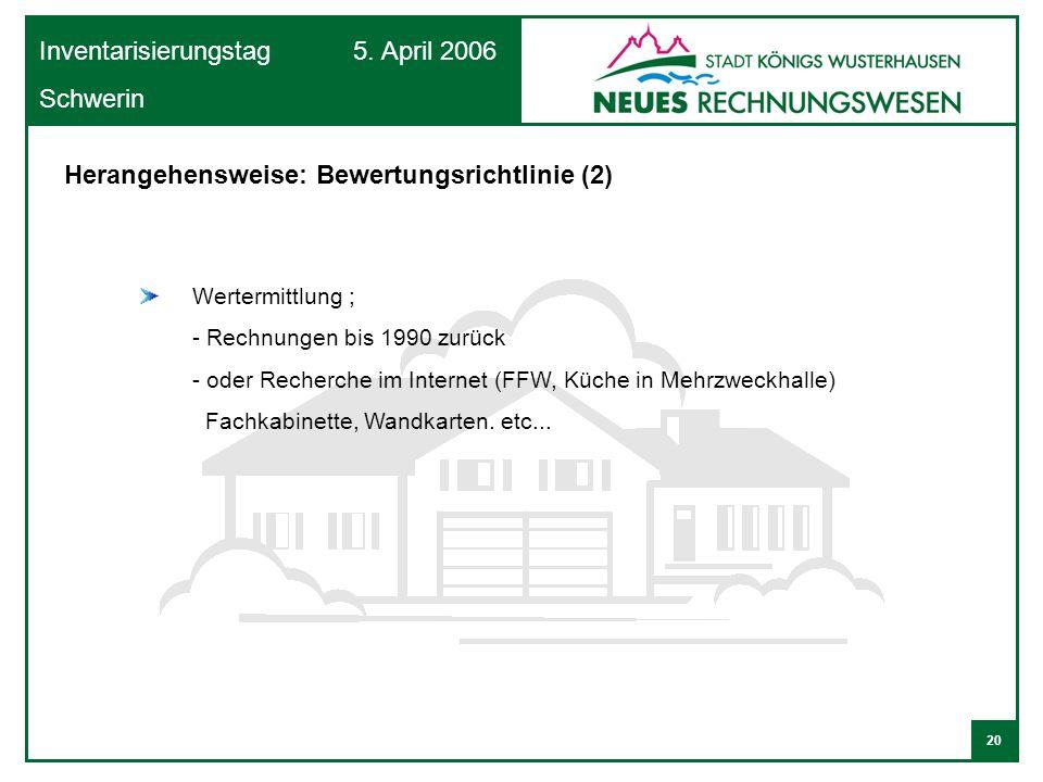 20 Inventarisierungstag 5. April 2006 Schwerin Wertermittlung ; - Rechnungen bis 1990 zurück - oder Recherche im Internet (FFW, Küche in Mehrzweckhall