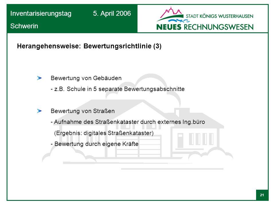 21 Inventarisierungstag 5. April 2006 Schwerin Bewertung von Gebäuden - z.B. Schule in 5 separate Bewertungsabschnitte Bewertung von Straßen - Aufnahm