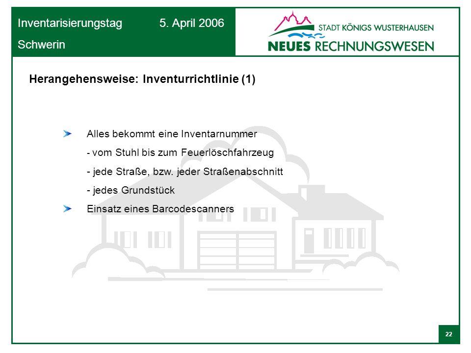 22 Inventarisierungstag 5. April 2006 Schwerin Alles bekommt eine Inventarnummer - vom Stuhl bis zum Feuerlöschfahrzeug - jede Straße, bzw. jeder Stra