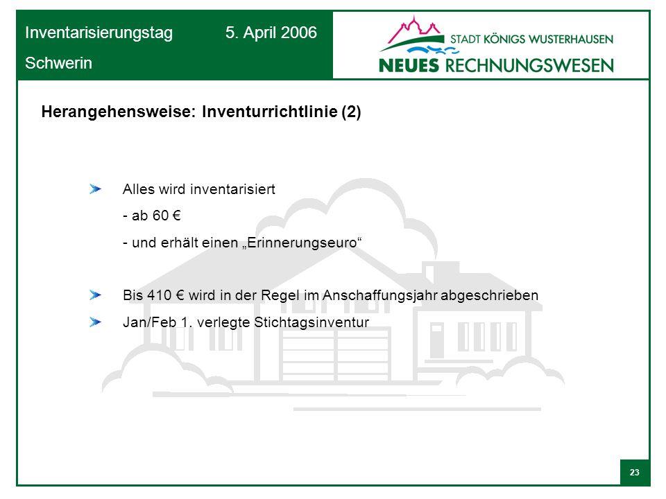 23 Inventarisierungstag 5. April 2006 Schwerin Alles wird inventarisiert - ab 60 - und erhält einen Erinnerungseuro Bis 410 wird in der Regel im Ansch