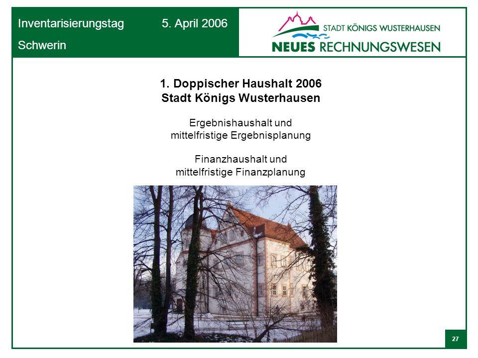 27 Inventarisierungstag 5. April 2006 Schwerin 1. Doppischer Haushalt 2006 Stadt Königs Wusterhausen Ergebnishaushalt und mittelfristige Ergebnisplanu