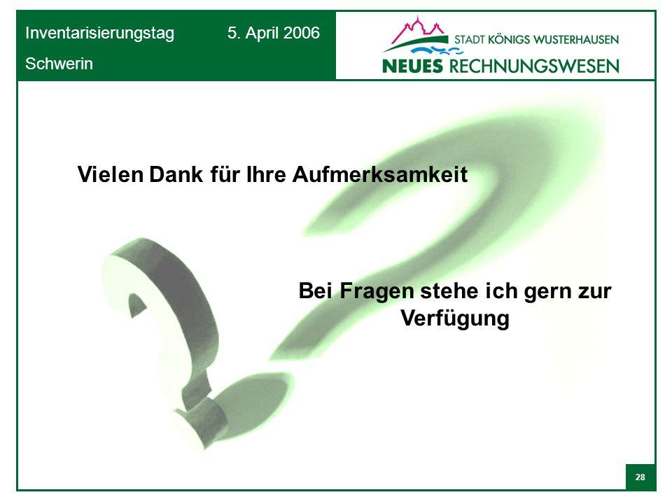 28 Inventarisierungstag 5. April 2006 Schwerin Vielen Dank für Ihre Aufmerksamkeit Bei Fragen stehe ich gern zur Verfügung