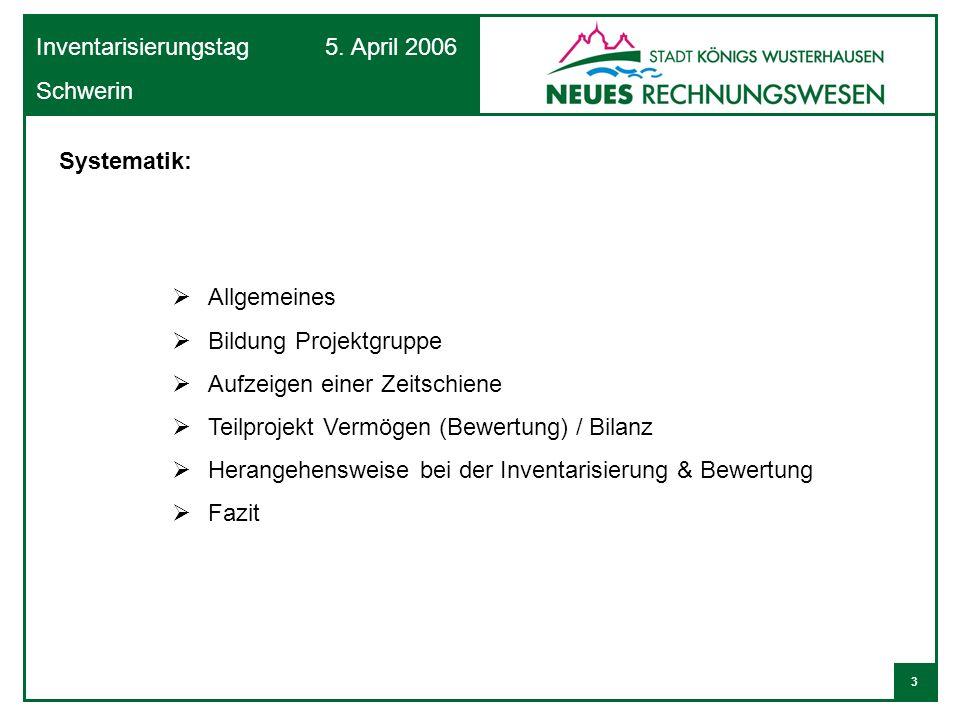 3 Inventarisierungstag 5. April 2006 Schwerin Systematik: Allgemeines Bildung Projektgruppe Aufzeigen einer Zeitschiene Teilprojekt Vermögen (Bewertun