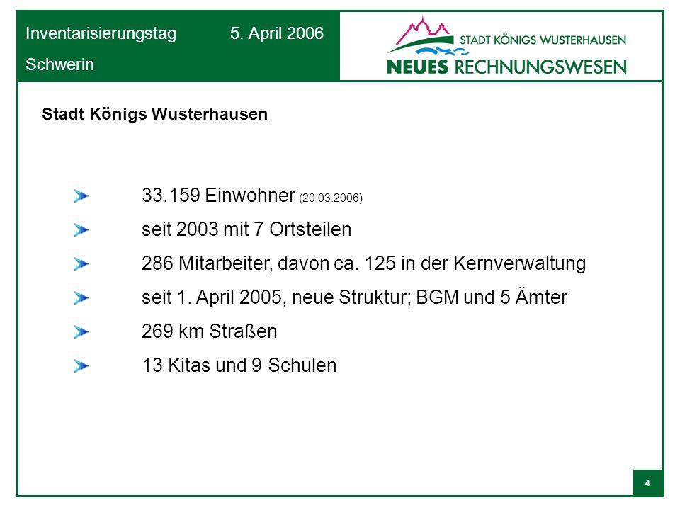 4 Inventarisierungstag 5. April 2006 Schwerin Stadt Königs Wusterhausen 33.159 Einwohner (20.03.2006) seit 2003 mit 7 Ortsteilen 286 Mitarbeiter, davo