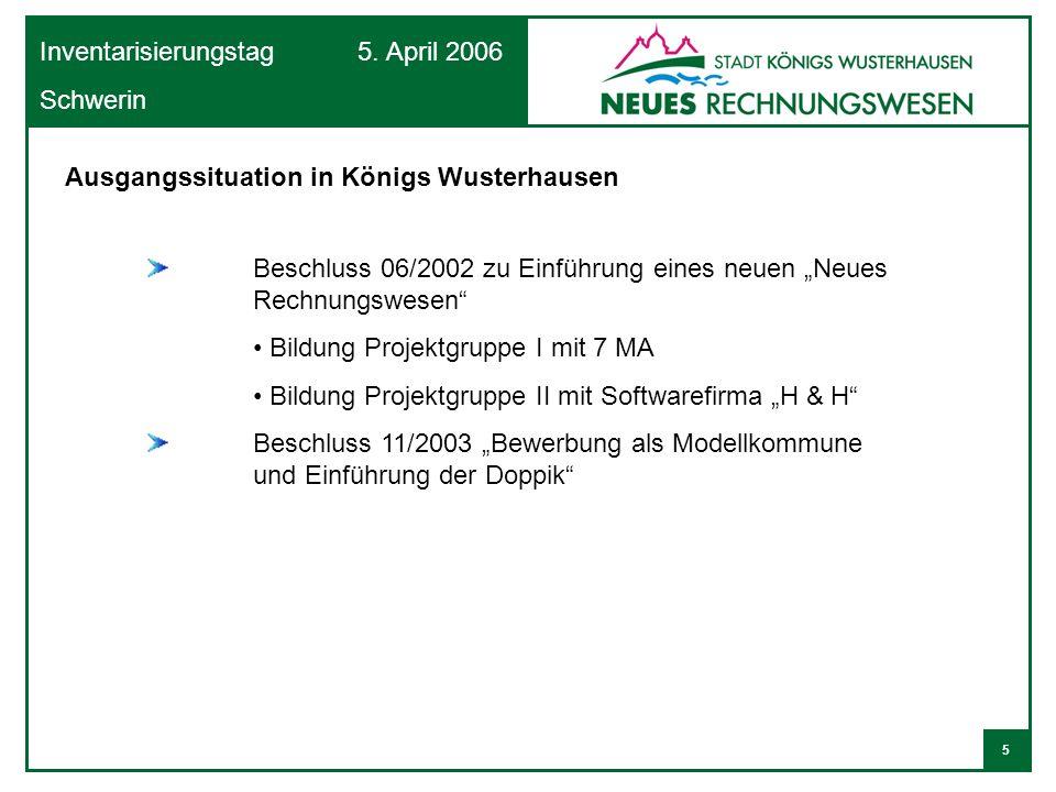 5 Inventarisierungstag 5. April 2006 Schwerin Ausgangssituation in Königs Wusterhausen Beschluss 06/2002 zu Einführung eines neuen Neues Rechnungswese