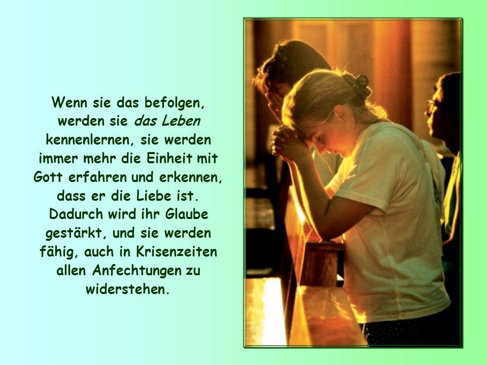 Johannes will seinen Leuten beistehen und zeigt ihnen deshalb ein wirksames Hilfsmittel: die Schwestern und Brüder lieben, das Gebot der Liebe leben,
