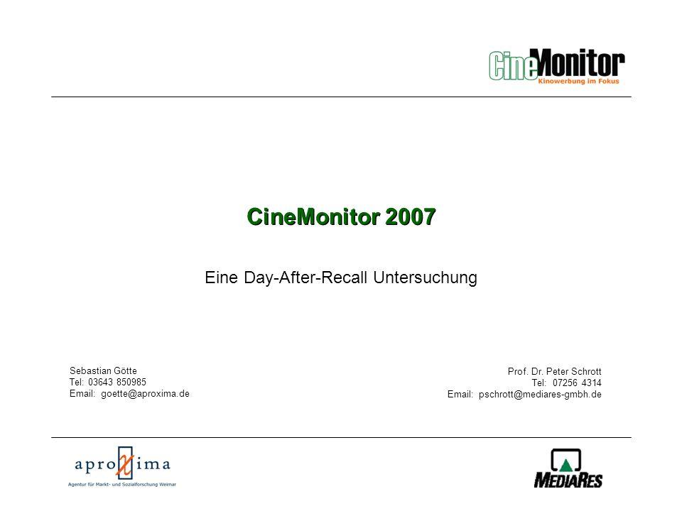 CineMonitor CineMonitor im Überblick Zielsetzung Die Untersuchung sollte Belege für die Akzeptanz und Wirksamkeit von Kinowerbung liefern.
