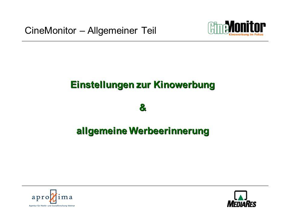 CineMonitor CineMonitor – Allgemeiner Teil Einstellungen zur Kinowerbung & allgemeine Werbeerinnerung Einstellungen zur Kinowerbung & allgemeine Werbeerinnerung