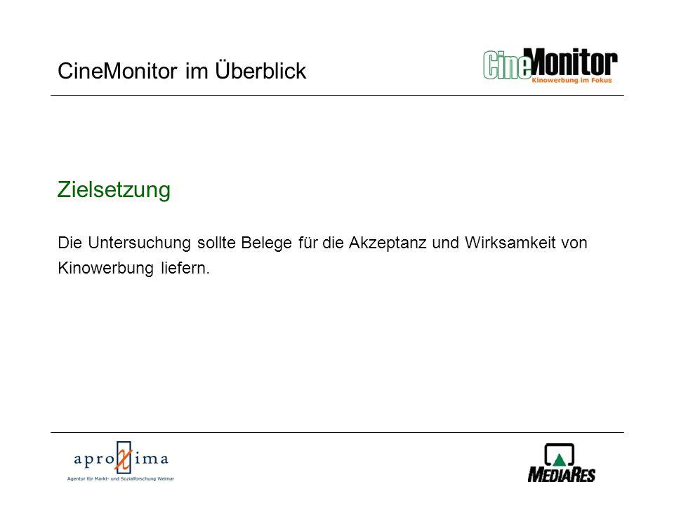 CineMonitor CineMonitor im Überblick Methode Auftraggeber:FDW Werbung im Kino e.V.