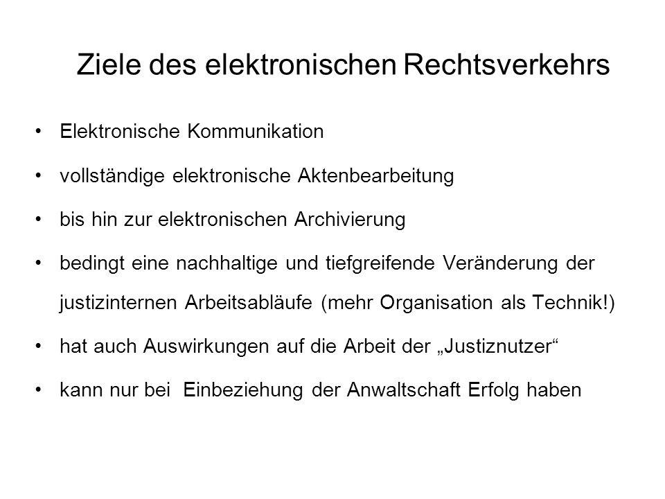 Ziele des elektronischen Rechtsverkehrs Elektronische Kommunikation vollständige elektronische Aktenbearbeitung bis hin zur elektronischen Archivierun