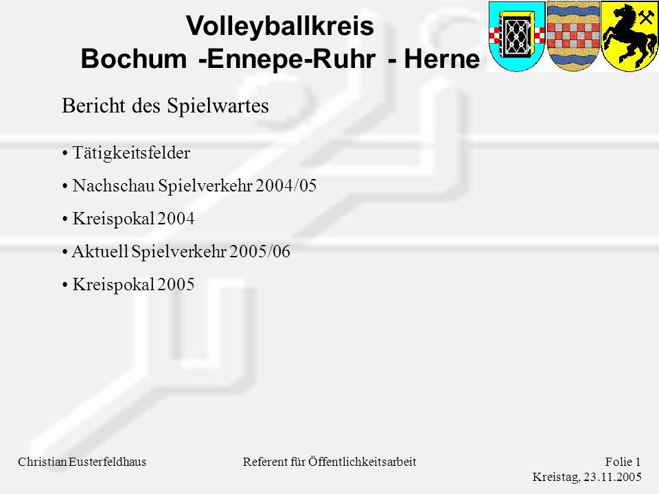Volleyballkreis Bochum -Ennepe-Ruhr - Herne Christian EusterfeldhausFolie 1 Kreistag, 23.11.2005 Referent für Öffentlichkeitsarbeit Bericht des Spielwartes Tätigkeitsfelder Nachschau Spielverkehr 2004/05 Kreispokal 2004 Aktuell Spielverkehr 2005/06 Kreispokal 2005