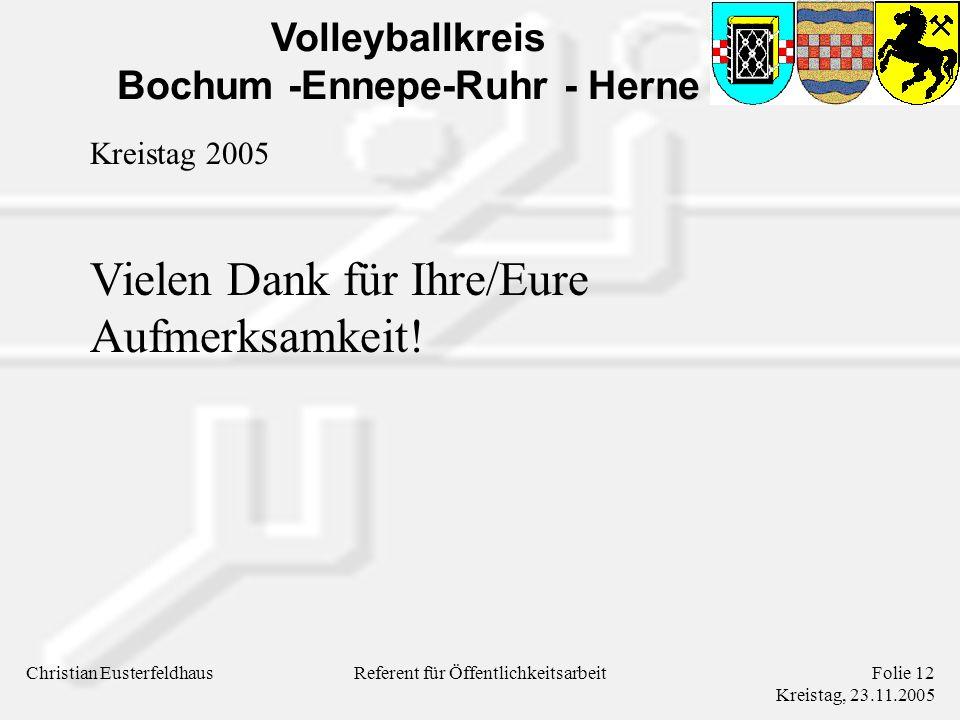 Volleyballkreis Bochum -Ennepe-Ruhr - Herne Christian EusterfeldhausFolie 12 Kreistag, 23.11.2005 Referent für Öffentlichkeitsarbeit Kreistag 2005 Vielen Dank für Ihre/Eure Aufmerksamkeit!