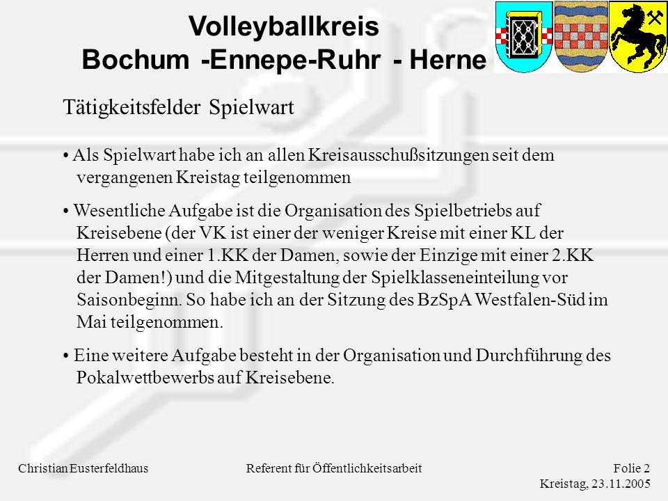 Volleyballkreis Bochum -Ennepe-Ruhr - Herne Christian EusterfeldhausFolie 2 Kreistag, 23.11.2005 Referent für Öffentlichkeitsarbeit Tätigkeitsfelder S