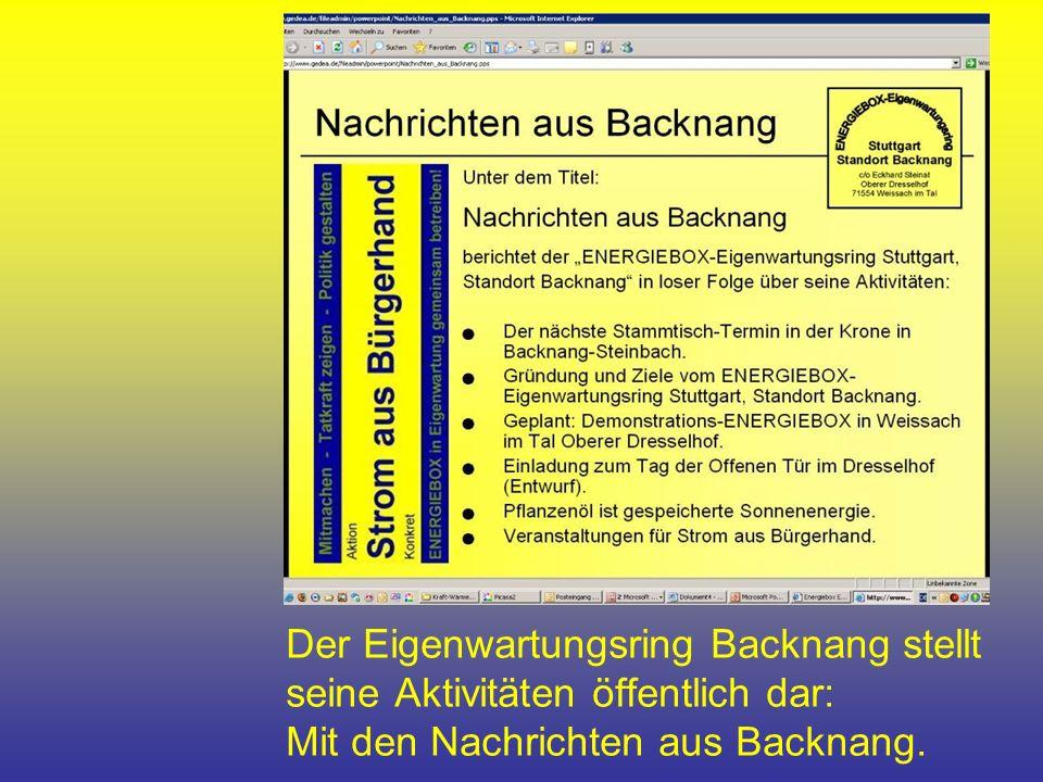 Der Eigenwartungsring Backnang stellt seine Aktivitäten öffentlich dar: Mit den Nachrichten aus Backnang.