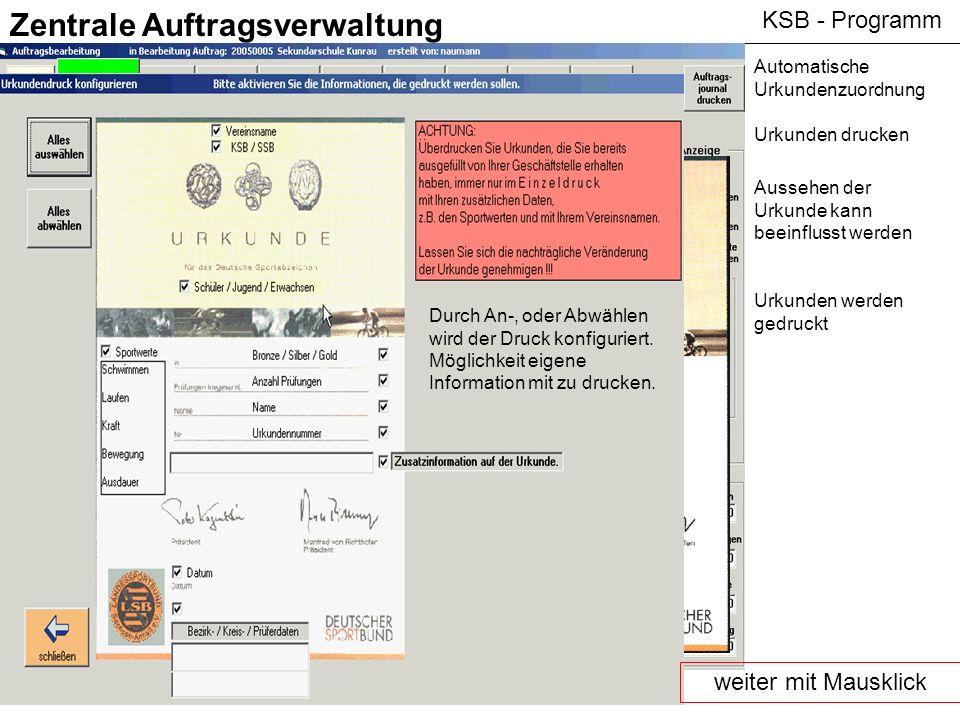 KSB - Programm Zentrale Auftragsverwaltung Automatische Urkundenzuordnung Urkunden drucken Aussehen der Urkunde kann beeinflusst werden Urkunden werde