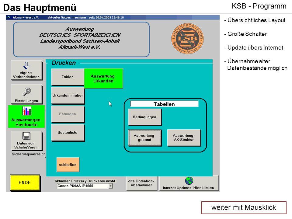 KSB - Programm Das Hauptmenü - Übersichtliches Layout - Große Schalter - Update übers Internet - Übernahme alter Datenbestände möglich weiter mit Maus