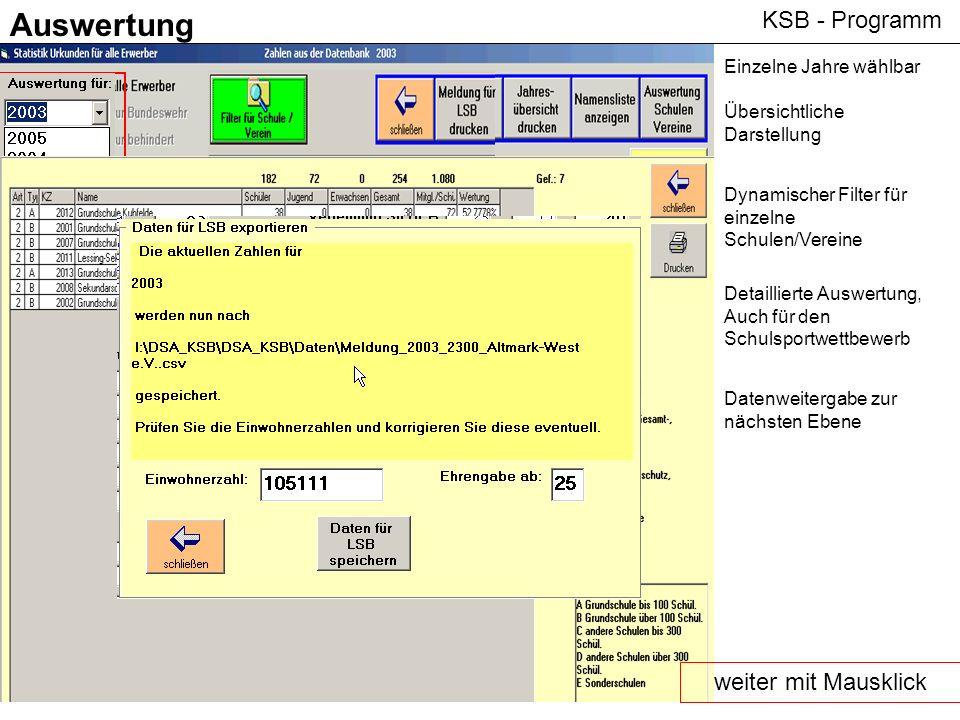 KSB - Programm Auswertung Einzelne Jahre wählbar Übersichtliche Darstellung Dynamischer Filter für einzelne Schulen/Vereine Detaillierte Auswertung, A