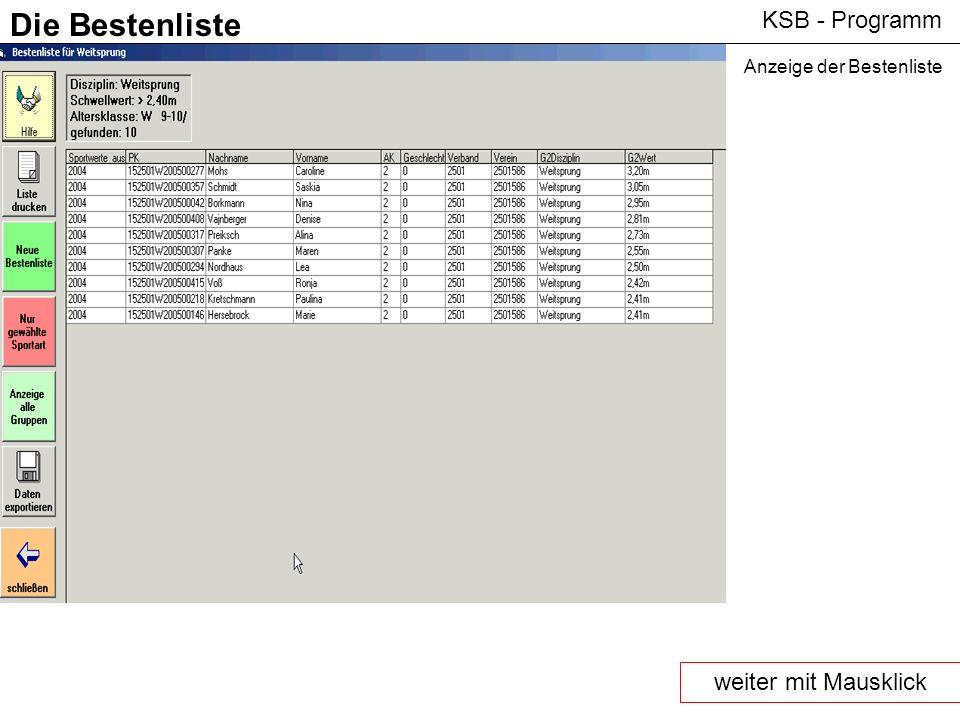 KSB - Programm Die Bestenliste Anzeige der Bestenliste weiter mit Mausklick