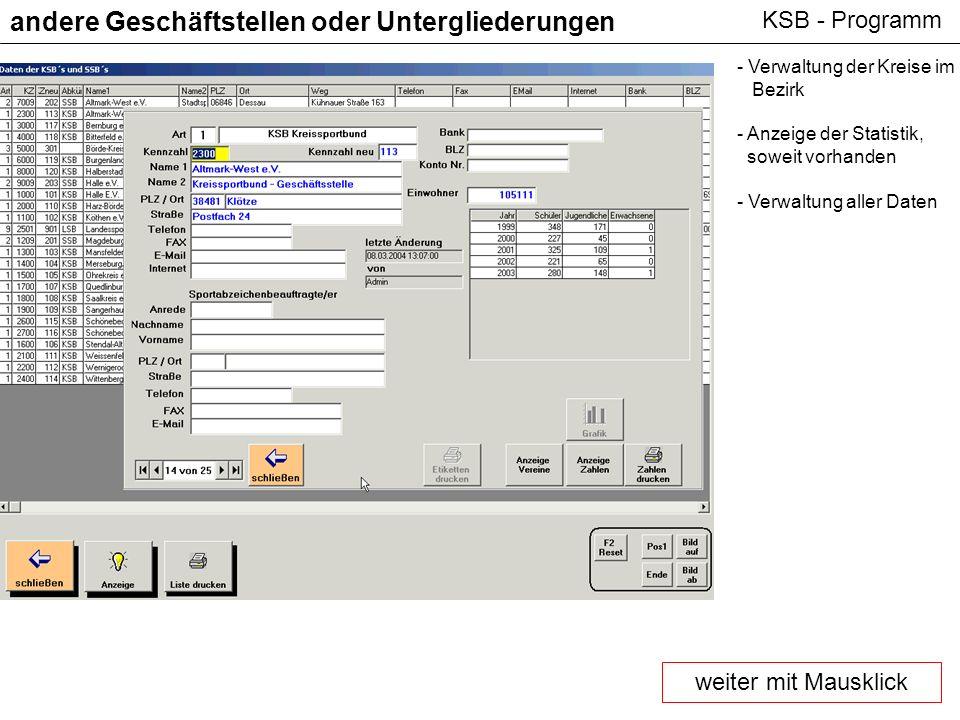 KSB - Programm andere Geschäftstellen oder Untergliederungen - Verwaltung der Kreise im Bezirk - Anzeige der Statistik, soweit vorhanden - Verwaltung