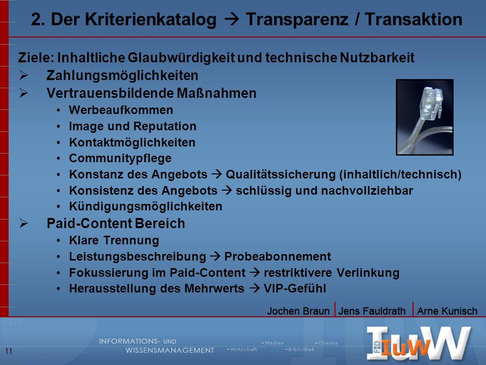 11 2. Der Kriterienkatalog Transparenz / Transaktion Ziele: Inhaltliche Glaubwürdigkeit und technische Nutzbarkeit Zahlungsmöglichkeiten Vertrauensbil