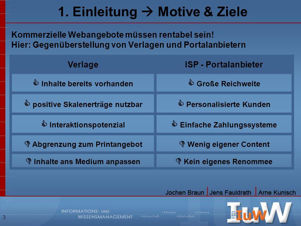 3 1. Einleitung Motive & Ziele Kommerzielle Webangebote müssen rentabel sein! Hier: Gegenüberstellung von Verlagen und Portalanbietern VerlageISP - Po