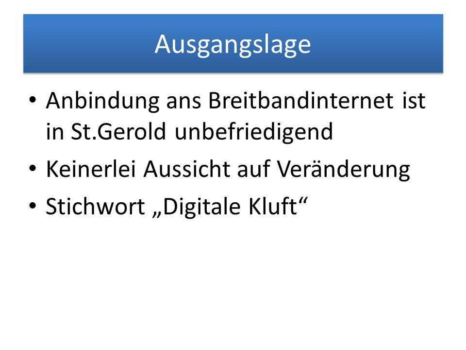 Ausgangslage Anbindung ans Breitbandinternet ist in St.Gerold unbefriedigend Keinerlei Aussicht auf Veränderung Stichwort Digitale Kluft