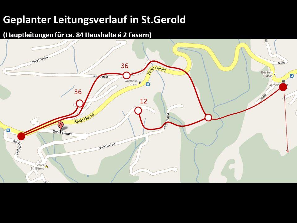 Geplanter Leitungsverlauf in St.Gerold (Hauptleitungen für ca. 84 Haushalte á 2 Fasern) 36 12