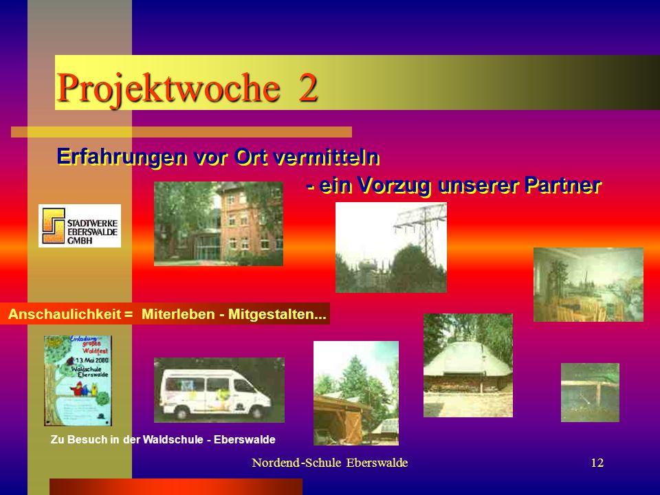 Nordend -Schule Eberswalde11 Projektwoche 1 Werkstattcharakter in allen Klassen Werkstattcharakter in allen Klassen