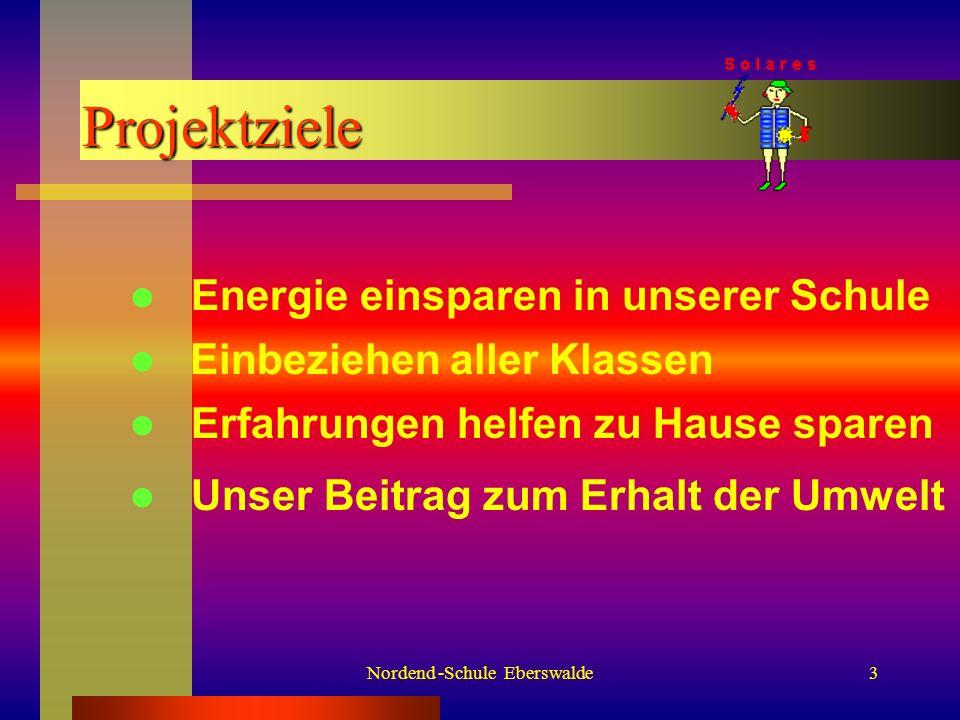 Nordend -Schule Eberswalde3 Projektziele Einbeziehen aller Klassen Energie einsparen in unserer Schule Unser Beitrag zum Erhalt der Umwelt Erfahrungen helfen zu Hause sparen