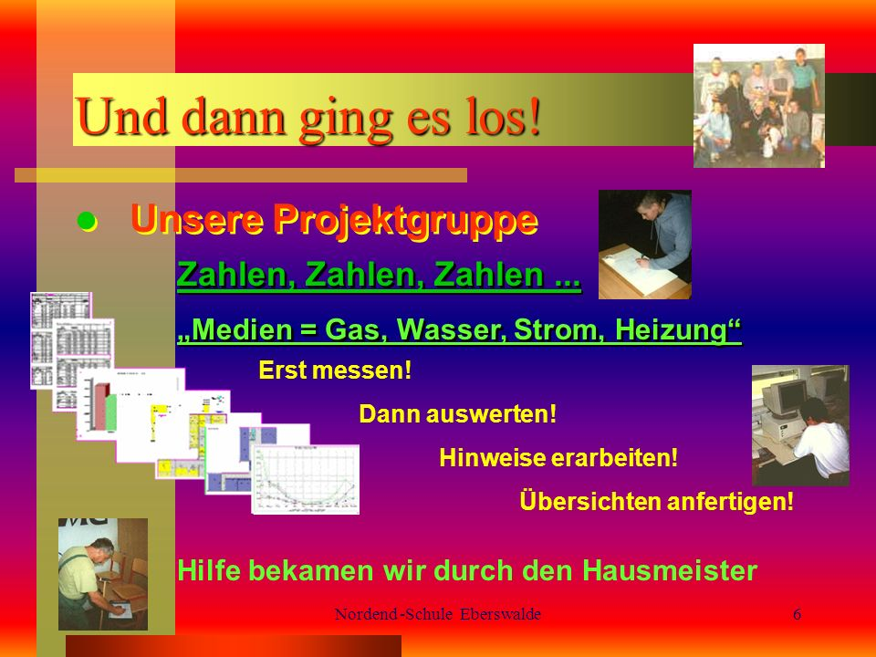 Nordend -Schule Eberswalde6 Und dann ging es los.Unsere Projektgruppe Zahlen, Zahlen, Zahlen...